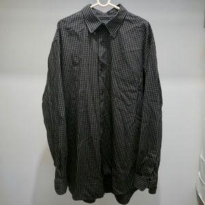 Black checked button-down shirt
